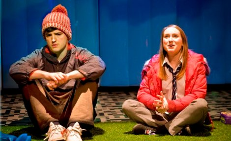 James Alexandrou as Phil and Leah Brotherhead as Leah in DNA, Photo by Simon Annand